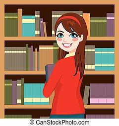 nő, könyvtár