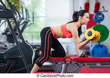 nő, középcsatár, gyakorlás, tornaterem, állóképesség, sport