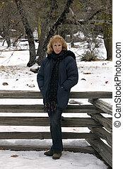 nő, középkorú, hó, bájos