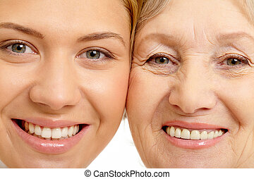nő, közelkép, anya, két, arc, gyönyörű
