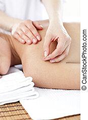 nő, közelkép, felfogó, fiatal, bánásmód, akupunktúra