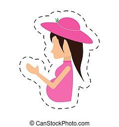 nő, kalap, terhes