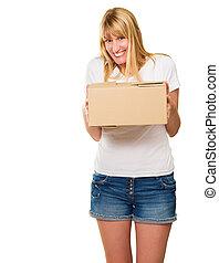 nő, kartonpapír, birtok, csomag