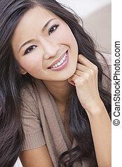 nő, keleti, mosolygós, kínai, ázsiai, gyönyörű