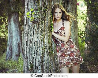 nő, kert, fiatal, mód, portré, érzéki