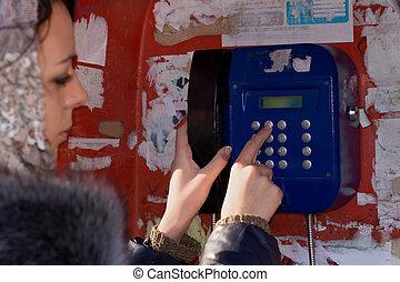 nő, kiegyenlít, dialling, telefonszám, telefon