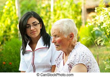 nő, kihallgatás, öregedő