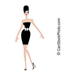 nő, koktél, fiatal, rövid, fekete, sikk, ruha