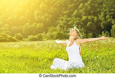 nő, koszorú, élet, boldog, nyár, szabadban, élvez