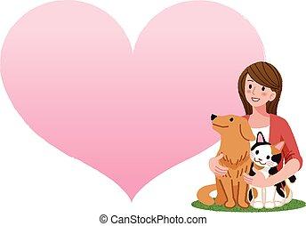 nő, kutya, birtok, macska