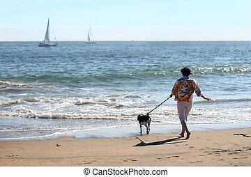 nő, kutya