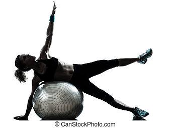 nő, labda, tréning, állóképesség, gyakorlás