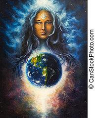 nő, lada, istennő, festmény, vászon, gyönyörű, olaj