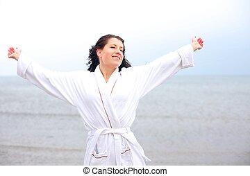 nő, levegő, friss, élvez, tengerpart, friss