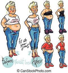 nő, loss., súly, után, fiatal, előbb