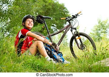 nő, lovaglás, boldog, életmód, fiatal, bicikli, egészséges, külső rész.