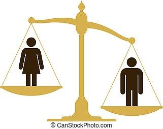nő, mérleg, ember, kiegyensúlyozatlan