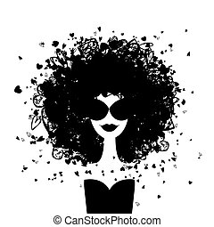 nő, mód, -e, portré, tervezés