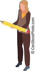 nő, mód, ikon, ceruza, ügy, sikeres, isometric