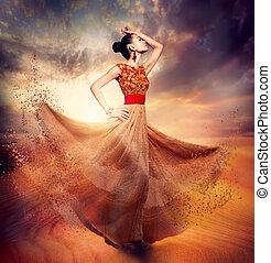 nő, mód, tánc, fárasztó, fújás, sifón, hosszú, ruha