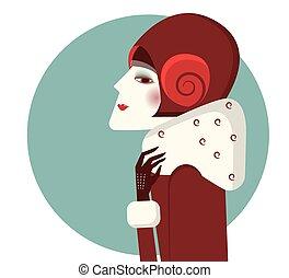 nő, mód, télikabát, portré, kalap, szüret