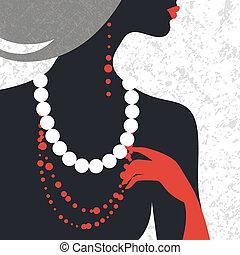 nő, mód tervezés, silhouette., gyönyörű, lakás