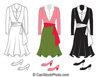 nő, mód, white., vektor, ruha, öltözék