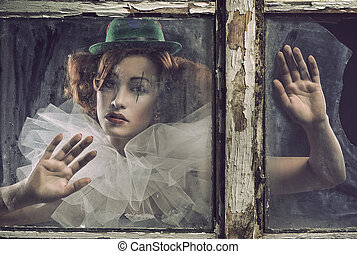 nő, mögött, elhagyott, bús, bohóc, pohár