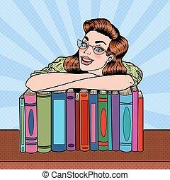 nő, művészet, fiatal, váratlanul, kazal, vektor, előjegyez, ábra, diák, library., boldog