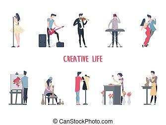 nő, művészet, work., kreatív, munka, ember
