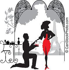 nő, marry/, őt ajánl házasság, javaslat, ember