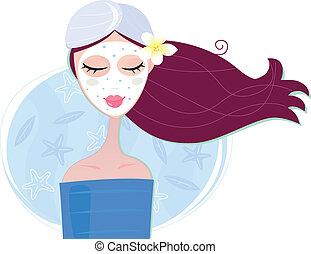 nő, maszk, hámlás, arcápolás, ásványvízforrás