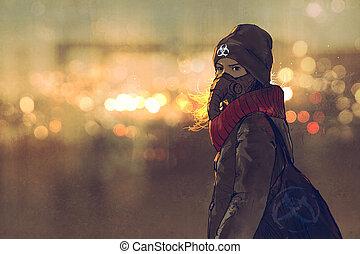 nő, maszk, háttér, tél, fiatal, portré, bokeh, outdoor csillogó, gáz