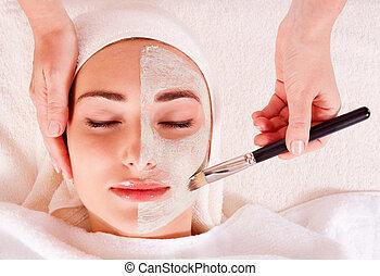 nő, maszk, szépség, felfogó, fogadószoba, arcápolás