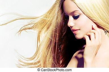 nő, megható, szépség, portrait., fiatal, arc, neki, gyönyörű