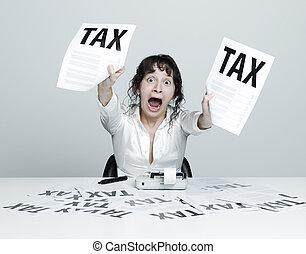 nő, megijedt, adók