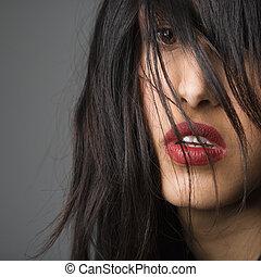 nő, meglehetősen, hosszú, hair.