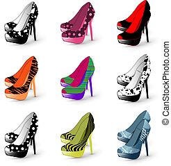 nő, megsarkal, cipők, magas