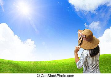 nő, mező, fiatal, nyár