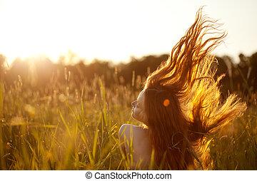 nő, mező, mosolygós, gyönyörű