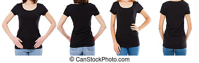 nő, mockup, állhatatos, kép, két, körbevágott, póló, elülső, trikó, fekete, tiszta, kilátás, :, fenék