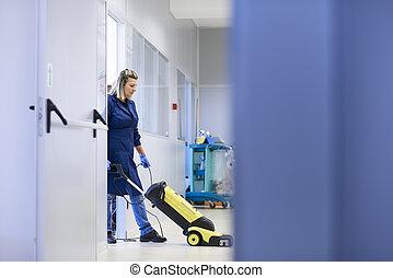nő, mosás, dolgozó, emelet, hely, hajadon, gépezet, tele, takarítás, hosszúság, ipari, profi, másol, épület.