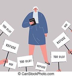 nő, munka, öregkor, discrimination., látszó