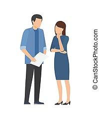 nő, munka, együttműködés, között, fejteget, ember