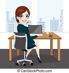 nő, munka hivatal, ülés