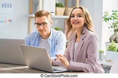 nő, munka hivatal, ember