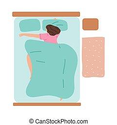 nő, nagy, alvás, vektor, ábra, ágy, otthon