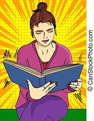 nő, nagy előjegyez, fiatal, felolvasás