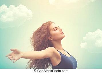 nő, nap, felett, ég, szabad, boldog
