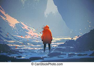 nő, narancs, fenék, tél, kilátás, meleg, táj, álló, zakó